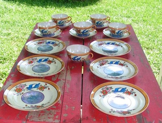 20s Seyei Goshi Kaisha Bluebird Lusterware Luncheon/Desert Plates and Teacup Sets Japan