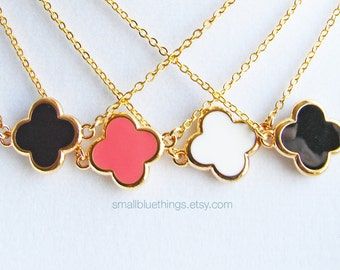 Flower Necklace. Simple Flower/Clover with Gold Colored Trim. Choose Your Color. 14K GF Chain. Simple Everyday Jewelry by Smallbluethings