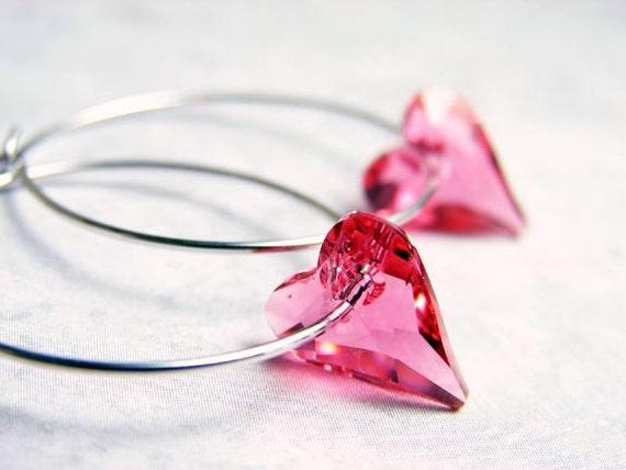 Pink Heart Hoop Earrings. Swarovski Indian Pink Heart Crystal on Silver Plated Hoop. Valentines Day Gift. Heart Earrings ~ Valentine's Day