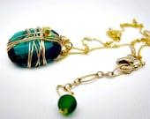 Emerald Green Swarovski Crystal Necklace Gift for Her