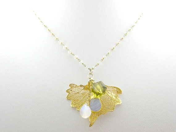Gold Dipped Leaf Moonstone Chain Gift For Her