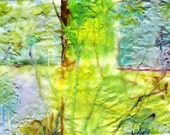 FREE SHIPPING - Vivid Textured Abstract - Original  Encaustic -  pigmented molten  Wax -  Fine Art Painting  by ebsq Artist  Ricky Martin