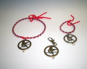 Hunger Games Inspired 3 Piece Set ... Choker , Bracelet , Book Bag Charm  (Limited Supply)