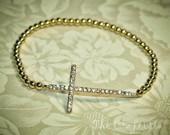 Sideways Cross Rhinestone Bracelet  --  Gold-colored Beads  -- Mom, Daughter, Sister, Best Friend