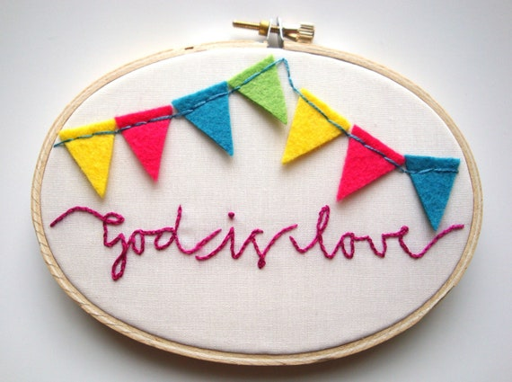 Hand embroidery hoop art christian valentine art god is love christian decor