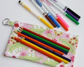 Pencil Case Electronic Gadgets Phone pouch with split key ring Frog Blossoms Daisy
