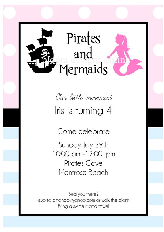 Printable Invitations- Pirates vs. Mermaids Party by Bloom