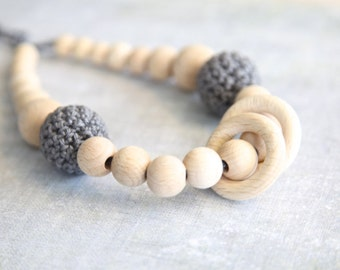 Grey nursing rings necklace. Girls crochet necklace. Mammy and baby teething necklace.