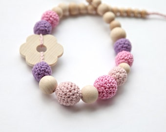Floral necklace. Pink, pale pink, lavender crochet teething necklace. Nursing necklace.