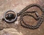 Vintage Blackamoor Pendant Fob / Black Enamel Head Spinner Nubian Prince & Princess Necklace