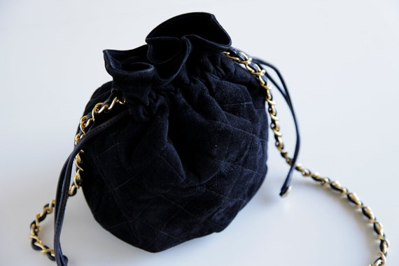 Vintage Black CHANEL Suede Quilted Pouch Purse with Leather Drawstring Closure and Chain Strap