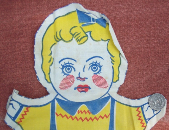 Vintage Printed Fabric Craft Panel Girl Doll 1950s