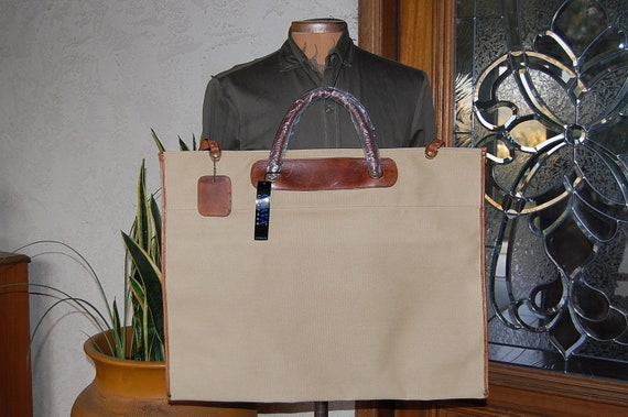 Sale~ Big CANVAS and Leather TOTE bag ART travel