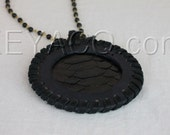 Leather Medallion, Jet Black Python on Black Leather, Do The Right Thing