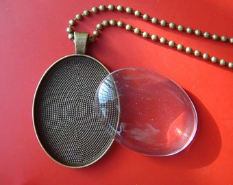 6 KITS Oval Pendant making kits 30 mm x 40 mm Base setting, Matching Glass and Necklaces