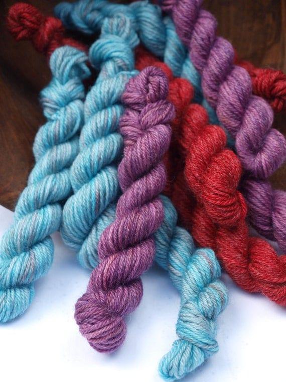 Set of 3 Minis, Hand Dyed Fingering/Sock Yarn, 80/20 SW Merino/Bamboo