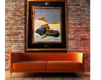 abstract painting LARGE wide abstract original acrylic canvas modern abstract  FREE SHIPPING