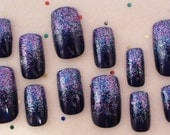 Summer Nail Art Multicolor Navy Glitter Ombre Set of 12 Nails OOAK Introductory Offer Sale