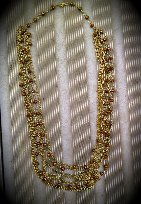 B.R.A.S.S.Y. - Gold and Copper Crystal Layered Chain Necklace
