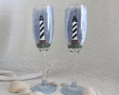 Cape Hatteras Light House hand painted pair of champagne flutes can custom paint any light house
