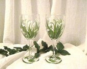 Lily of the Valley hand painted pair of wine glasses
