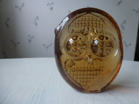 RESERVED FOR AYUMI / Vintage Swedish glass owl / Paper weight