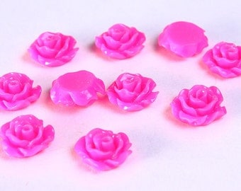 11mm Hot pink flower cabochons - Fuschia Lucite rose cabochon - Pink 3D cabochon - resin flower cabochon (788) - Flat rate shipping