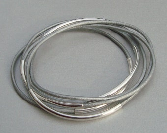 Metallic Silver Leather Bangle Bracelets with Silver Plated Curved Tubes - Set of 5 - Minimalist Jewelry - Set
