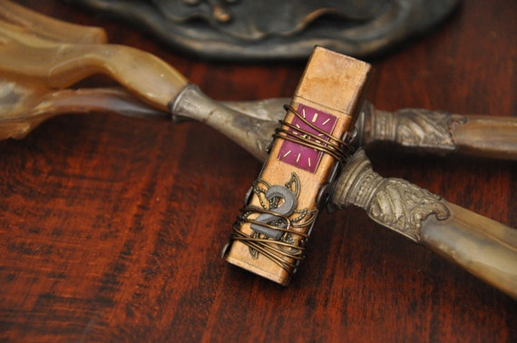4 gb steampunk flash drive antiqued and embellished with vintage watch parts
