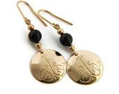 14K Gold-filled Hammered Artisan Earrings with Black Onyx, Swirled Filigree, holiday jewelry, Christmas gift ideas, gifts for her