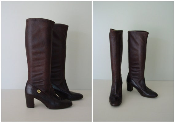 vintage Ferragamo brown leather boots / 1970s knee high boots