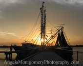 Silhouette of Fishing Boat at Sunset - 8x10 fine art print