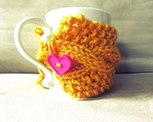 Coffee Cup Cozy Knit Mug Warmer Crochet Cup Sleeve Heart Mug Sweater Mustard Yellow Starbucks Accessories Dunkin Donuts Gifts Hot Chocolate
