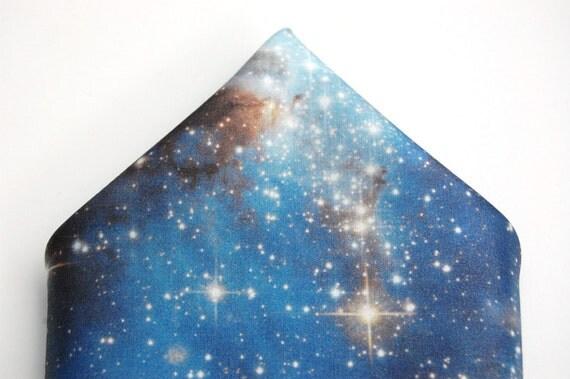 "Galaxy Nebula Print Cotton Silk Pocket Square ""Blue Haze"" Wedding Stars Space"