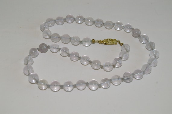 Lavender Fluorite Necklace - Hand Knotted 8 mm. Beads - 1980's