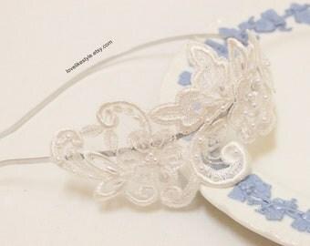Ivory Color Beaded Lace Headband , Bridal Headband, Bridesmaid Headband
