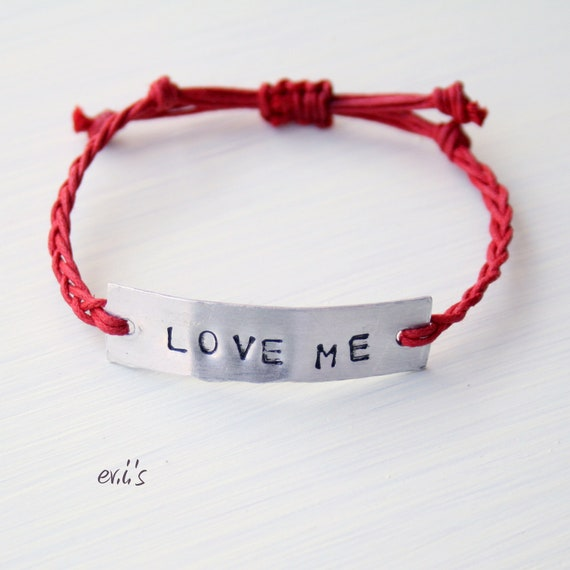 LOVE ME Hand Stamped Metal Tag Bracelet with Red Cotton Cord Friendship Adjustable Artisan Bracelet Gift for Her