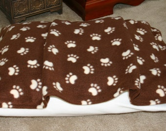 Brown and Ivory Pawprint Dog Bed - Machine Washable - FREE Shipping Fleece Burrow Snuggle Bella Pet Bed Cover - bellapetbeds