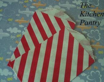 Mini Paper Favor Bags - Red Striped Treat Bags - 1 Dozen