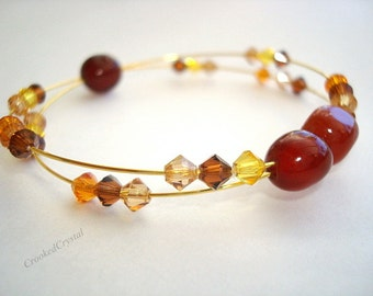 Bracelet - Carnelian and Swarovski - Healing - Double Strand Open Bangle Memory Wire - Gold