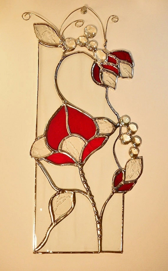 Abstract Art With Red Flowers. Stained Glass Panel.