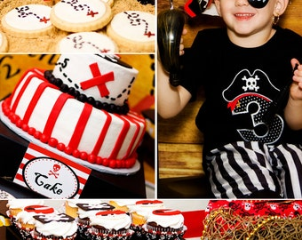 Pirate Birthday Party - Boy Pirate Party - PRINTABLE Personalized Party Package - Red and Black