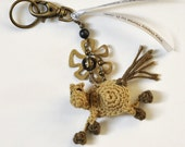 Little Bronze 2 Very Happy Horse Keychain in Crochet with Beads