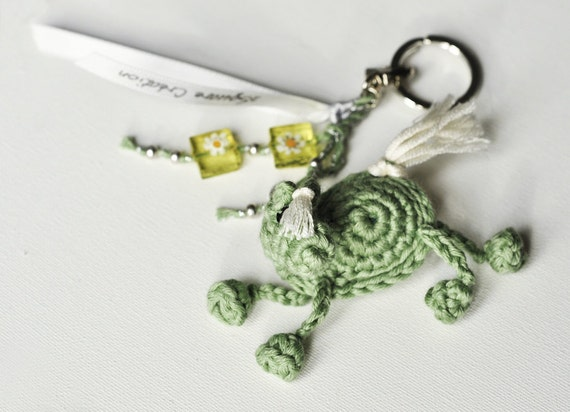 Little Mint Green Very Happy Horse Keychain in Crochet with Beads