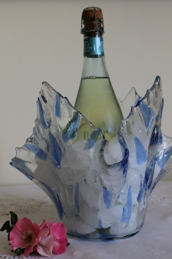 Wedding- Ice Bucket- Scandinavian Ice- Vase-Table Setting- Art Glass- Anniversary- Decoration- Blue, Periwinkle, Clear