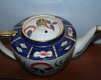 Vintage tea pot antique china   Stanley china  cobalt red and  gold china teapot