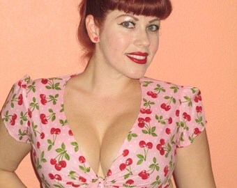 Cherry Polka Dot Crop Top Rockabilly Retro