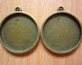 5pcs 30mm antique bronze cabochon pendant settings C1913