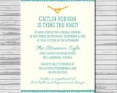 Tie the Knot nautical blue yellow Bridal Shower Invitation - customized 5x7 printable - nautical knot print bridal shower invites