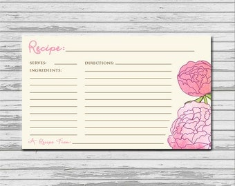 Pink Peonies Recipe Card - 3x5 INSTANT printable download - flowers rustic recipes cards PDF bridal kitchen shower peony